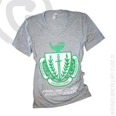PANHELLENIC CRST VNECK! CLASSIC AND CUTE!! EVERY CAMPUS PANHELLENIC WOULD LOOK CUTE IN THIS! Greek Week, Go Greek, Greek Life, Panhellenic Council, Rho Gamma, Sorority Recruitment, Phi Mu, Custom Design, V Neck