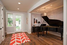 Piano next to partition wall