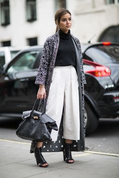 """topshop: """" Culottes, a rollneck and high sandals make the perfect nearly-spring look. """""""