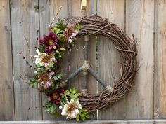 Large Natural Grapevine Peace Sign Wreath by ArtfullyYours1973
