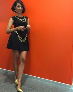SHARRA PAGANO | 2016 | Caterina Balivo with Sharra Pagano earrings and necklace, belt and bracelets from Moschino by Sharra Pagano