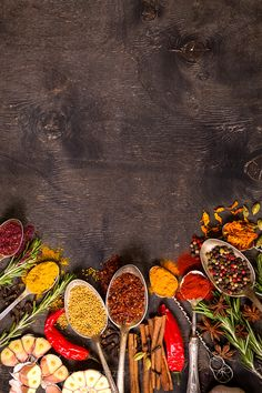 Pic: Set of various aromatic colorful spices – Jon Urbana Food Background Wallpapers, Food Wallpaper, Food Backgrounds, Wallpaper Backgrounds, Food Graphic Design, Food Menu Design, Food Poster Design, Food Photography Tips, Menu Restaurant