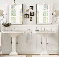 Restoration Hardware: Amazing bathroom with his and her pedestal sinks. Bathroom with light gray walls paired ...