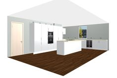Modern Inspiration. Glossy White Kitchen with Wine Refrigerator and Miele Appliances. Free 3D Kitchen Planner.