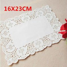 16X23CM White Rectangle Paper Lace DoiliesWedding by AndyLuckyStar, $16.50