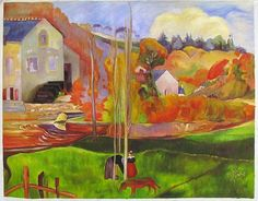 Breton Landscape - Paul Gauguin hand-painted oil painting reproduction,Tropical Landscape,Eden-like setting,living room large decor wall art.