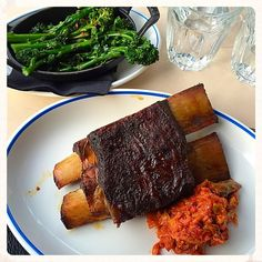 10-hour roasted beef short rib with kimchi and chilli lemon broccoli. Sunday bliss yum food