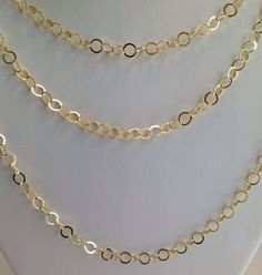 """24k GOLD OVER STERLING SILVER HIGH POLISH CIRCLE OPEN LINK  CHAIN NECKLACE 60"""" #AuthenticItalianCraftsmanship #Chain"""