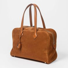 Hermes Victoria II 35 Light Brown Grizzly/Barenia Leather