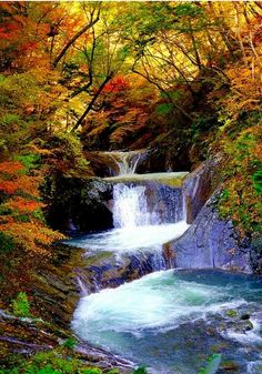 Autumn of waterfall by shinichiro Cool Pictures Of Nature, Nature Photos, Beautiful Pictures, Beautiful Waterfalls, Beautiful Landscapes, Beautiful World, Beautiful Places, Landscape Photography, Nature Photography