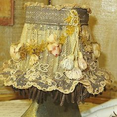 Antique-RIBBONWORK-LAMPSHADE-w-SILK-Cabbage-Roses-Lace-Bullion-Trim-French-Doll