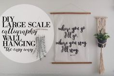No more empty walls! Turn some things you have around the house into this DIY calligraphy art wall hanging -- no art skills required! Hanging Canvas, Hanging Wall Art, Anniversary Scrapbook, Gifts Under 10, Diy Canvas, Calligraphy Art, Diy Wall Art, Diy Gifts, Hand Lettering