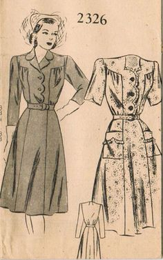 1940s Mail Order 2326 FF Vintage Sewing Pattern by midvalecottage, $14.00