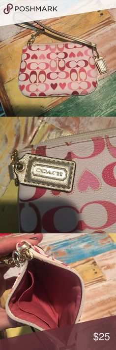 Pink & Red Coach Wristlet Purchased on Posh and never used it. Super cute and fun pattern. Bit too small for me. Great condition. Coach Bags Clutches & Wristlets