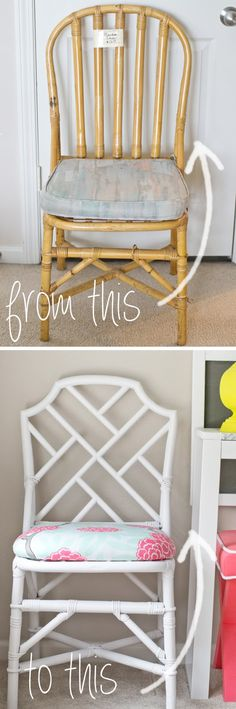 Talk about awesome DIY decor on a budget. Love this chair makeover by sarah m. dorsey designs: Plain Rattan Chair to Chinese Chippendale Chair Chair Makeover, Furniture Makeover, Diy Furniture, Ratan Furniture, Repainting Furniture, Beach Furniture, Repurposed Furniture, Painted Furniture, Rattan