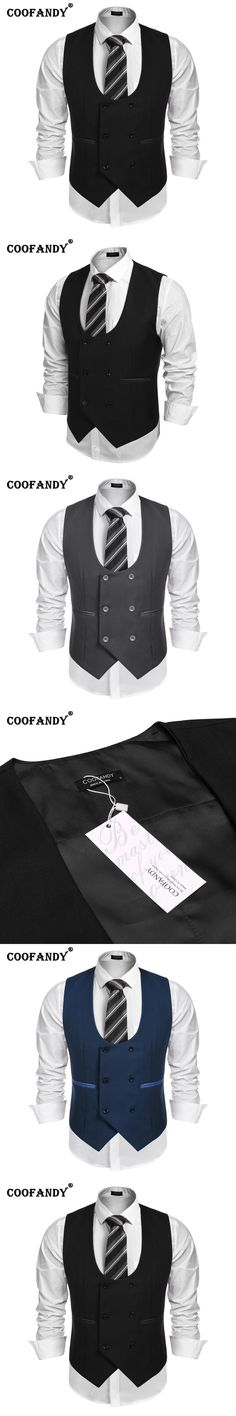 COOFANDY New Arrivals Men U-Neck Sleeveless Double-breasted Slim Fit Business Suit Vest Free Shipping
