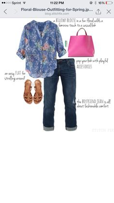 Floral blouse outfit. Hot pink purse.  Want to try Stitch Fix? Sign up here....https://www.stitchfix.com/referral/5198264