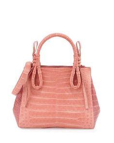 L5ZJA Nancy Gonzalez Crocodile Medium Knotted Top-Handle Bag, Rose/Pink