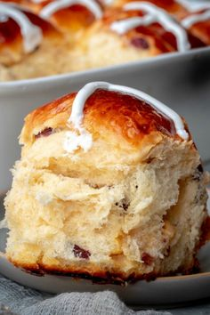 Hot Cross Buns recipe makes the softest, lightly sweetened buns that will be perfect for your Easter table. Use your favorite dried fruits to make this recipe a family favorite. # Desserts fruit Hot Cross Buns Recipe - Let the Baking Begin! Cross Buns Recipe, Bun Recipe, Hot Crossed Buns Recipe, Kid Desserts, Dessert Recipes, Scones, Muffins, Homemade Buns, Sweet Dough