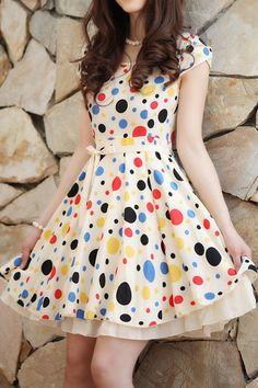 Sweet Polka Dot Bound Waist Dress OASAP.com