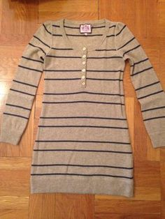 @Juicy Couture short dress Khaki Striped Knit Gold Hardware, $25.00 on @tradesy.com