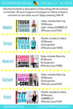 It's the week of LOVE, Killer Bs, so let's show ourselves some SELF LOVE with a terrific week of SWEAT! :) Five days of challenging workouts to get you fit and keep you motivated. 2018 February Week SEVEN 5 Day Workout Plan, Workout Challenge, Workout Plans, Warm Up Cardio, February 12, How To Get, How To Plan, Self Love, Challenges
