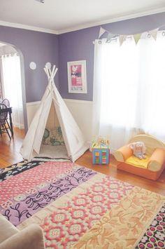 colorful playroom rug inspiration purple and pink