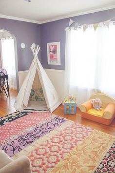 colorful playroom rug inspiration purple and pink