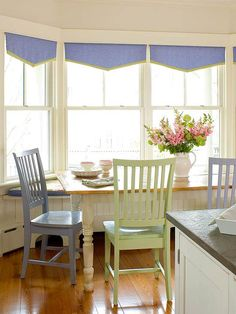 Play Up the View    Dress up a sunny bank of windows without losing the view with these valances. They're easy enough to stitch up, or simplify the process by using hem tape to finish the edges. You can mount the valances using a tension rod or by wrapping fabric around a small board and securing that to the window frame with screws.