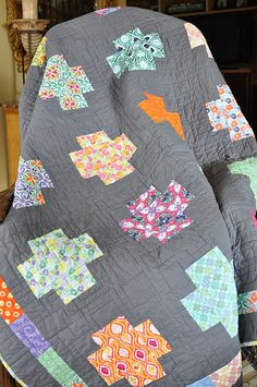 Love the Kate Spain line mixed with a gray background for this lovely quilt.
