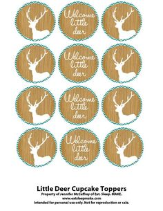 printable deer cupcake toppers | Little Deer Baby Shower (Printables + FREE Cupcake Toppers)