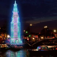 Todd van Hulzen and Studio Louter have developed a design for a temporal tower consisting of 30 metres of steel, fabric and most of all light. Original architecture of the Haringpakkerstower was designed by the 17th century architect Hendrik de Keyser. #amsterdamlightfestival