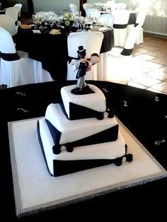 Tarta boda lazos blanco y negro