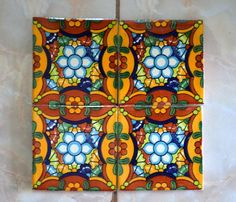 5 Mexican Talavera Tiles. Hand made-Hand painted 4 by MexicanTiles