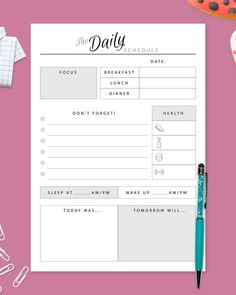 Daily Hourly Planner 2021 template help you to be more efficient and keep track of everything in one place. Fresh design for young and ambitious. You can choose paper size: A4, A5, Letter or Half Letter. #daily #hourly #day #scheduler #schedule Daily Planner Pages, Hourly Planner, Daily Planner Printable, Planner Template, Brain Dump, Filofax, Print Format, As You Like, Printables