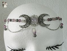 FluoriteTriple Moon Circlet, handmade jewelry wiccan pagan wicca witch witchcraft goddess metaphysical headpiece - Bridal fashion accessories (*Amazon Partner-Link)
