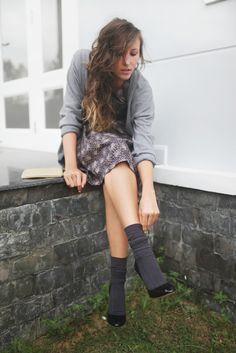 Dress, grey cardigan, navy slouched socks, black pumps