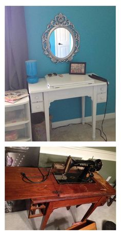 Make-up table turned out great, and has storage under flip top. Entryway Tables, Bedrooms, Desk, Storage, Projects, Top, Furniture, Home Decor, Quartos