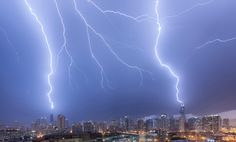 A lightning bolt dramatically hits the Willis Tower -- also known as the Sears…