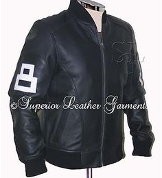 Mens New Black Cow Hide Leather 8 Ball Bomber Jacket