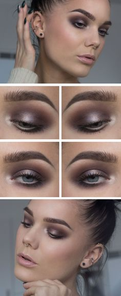 "Linda Hallberg makeup look - ""Smoky Glam"" - bronze-y plum smokey eye and nude pink lips. Very simple but still sultry."