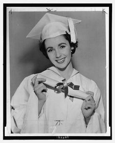 Elizabeth Taylor high school graduation photo, 1950
