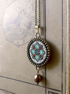 Cross stitch pendant Geometric cross stitch by TriccotraShop