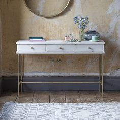 A really versatile piece of furniture, our Keiko Table/Desk can be used as a dressing table in the bedroom or guest room, a console table in the hallw Marble Console Table, Table Desk, Parquetry, Whitewash Wood, Dressing Table, Contemporary Style, Entryway Tables, Living Spaces, Bamboo