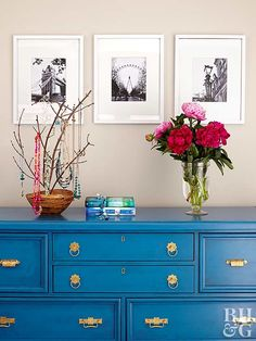Would you believe this chic blue dresser used to be a kitschy knotty pine? This technique can cover up a finish that doesn't flow with your look. Paint the dresser in a rich color, then apply a glaze (Best Paint Blue Distressed Furniture, Painted Furniture, Refurbished Furniture, Diy Dresser Makeover, Furniture Makeover, Dresser Makeovers, Chest Furniture, Diy Furniture, Furniture Plans