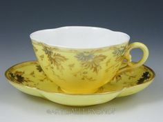 Antique SARREGUEMINES UTZSCHNEIDER Quatrefoil CUP AND SAUCER YELLOW GOLD GILDED Yellow Tea Cups, Yellow Bone, Vintage Tableware, Afternoon Tea Parties, Gold Gilding, Quatrefoil, Vintage China, Bone China, Cup And Saucer