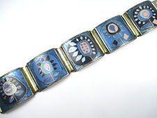 Stegemaille Armband Vintage 30er 50er Emaille Art Deco Ära enamel bracelet tN3