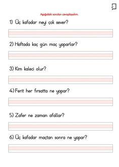 """1. Sınıf Okuma Yazma Etkinlikleri 5. Grup Sesler F Sesi """"Üç Kafadar"""" Metin Soruları"""