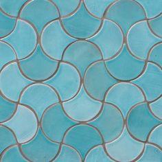 Decorative tile - scallop tiles turquoise - gvega