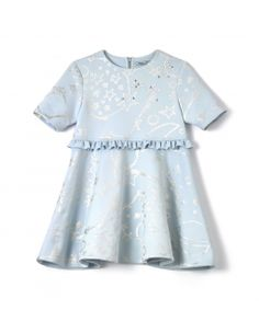 Gold Foil Dress - Light Blue